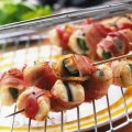 Barbecued scallops in bacon & sage