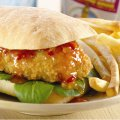 Breaded chicken sandwich with sweet chilli sauce