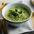 Pea, Tenderstem broccoli & mint soup