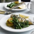 Whole baked sea bass with Tenderstem broccoli