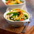 Stir fry vegetables with garlic & herb rice