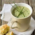 Watercress soup with mini cheese & chive scones