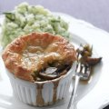 Ale & mushroom puff pastry pie with champ