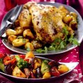 Roast spiced chicken with Indian-style gravy
