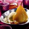 Saffron poached pear with ginger ice cream