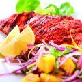 Seared tandoori chicken breast with mango, lemon, red onion & ginger relish