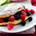 Souffle omelette with quark cream, blackberries and raspberries