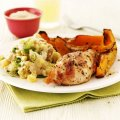 Oven baked chicken with houmous mash