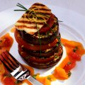 Griddled aubergine stacks with tomato confetti sauce