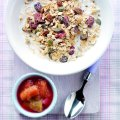 Fruity granola with rhubarb