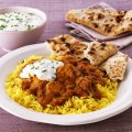 Chicken madras curry with sour cream & chive dip