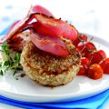 Oat crusted potato cakes with bacon