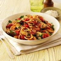 Spaghetti with spicy tomato, bacon & mushroom sauce