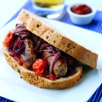Sausage & caramelised onion sandwich