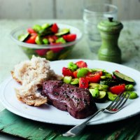 Lamb steaks with broad bean, courgette & chive salad