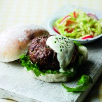 Staycation burgers with tarragon mayonnaise