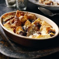 Butter croissant pudding with mint chocolate custard