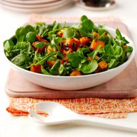 Roasted spicy squash leafy salad