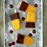 Peach & cherry ice lollies