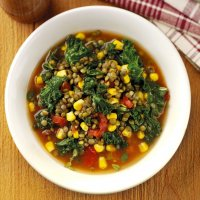 Winter lentil & kale soup