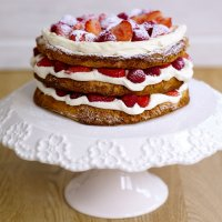 Sophie Michell's hazelnut meringue layer cake with strawberries
