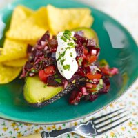 Avocado filled with lime beetroot & shallot salsa
