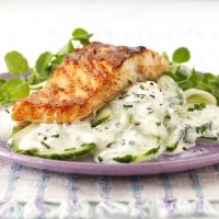 Salmon with cucumber sour cream