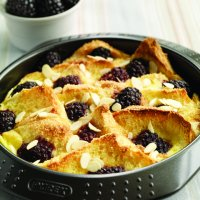 Blackberry & almond bread & butter pudding