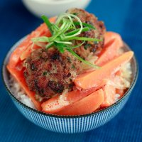Oriental pork meatballs with chantenay carrots