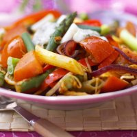 Spicy pasta with spring vegetables