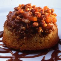 Apricot pecan pudding with toffee sauce